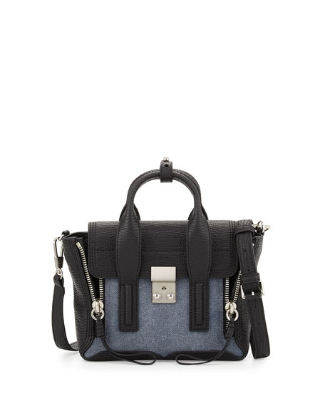 3.1 Phillip Lim Pashli Mini Leather Satchel Bag, Denim/Black