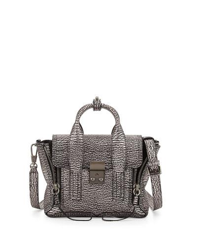Pashli Mini Leather Satchel Bag, Black/Mauve