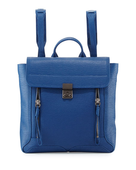 Pashli Leather Zip Backpack, Cerulean