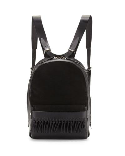 Bianca Mini Fringe Backpack, Black