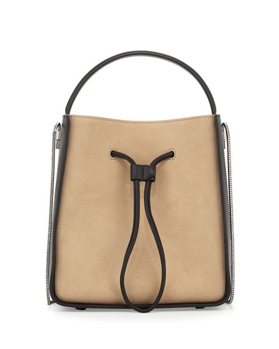 Soleil Small Drawstring Bucket Bag, Almond/Black