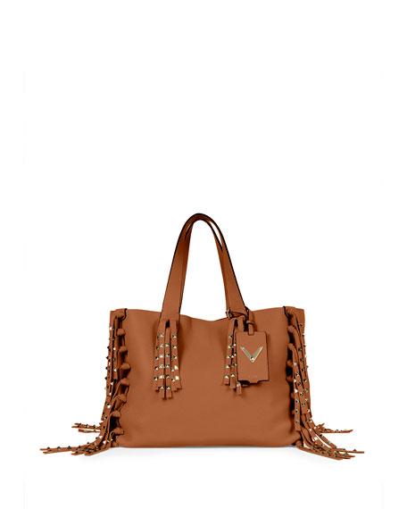 Valentino C-Rockee Studded Fringe Tote Bag, Tan