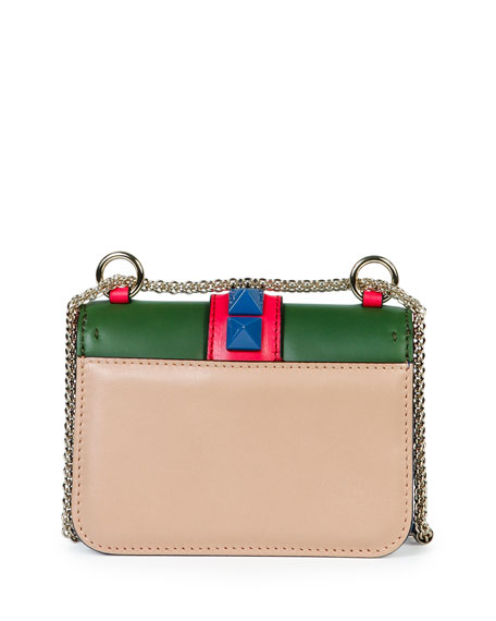 Lock Four-Color Leather Micro Mini Shoulder Bag, Beige/Blue/Pink/Green