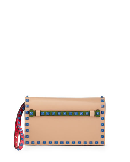 Valentino Rockstud 4-Color Small Flap Clutch Bag, Beige/Blue/Pink/Green