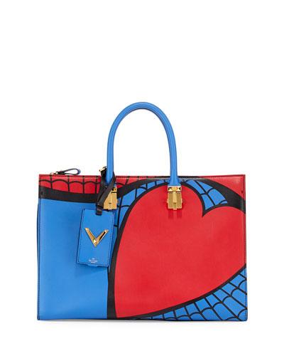 Superhero Spiderman Tote Bag, Red/Blue