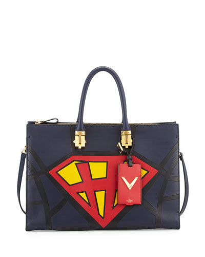 Valentino Superhero Superman Tote Bag, Navy/Red/Yellow