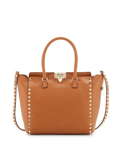 Rockstud Medium Grain Leather Shopper Tote Bag, Tan