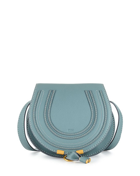 Chloe Marcie Small Calf Saddle Bag, Light Blue
