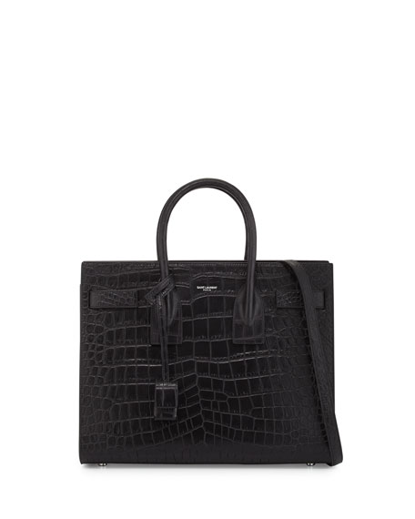 Sac de Jour Small Crocodile-Stamped Satchel Bag, Black