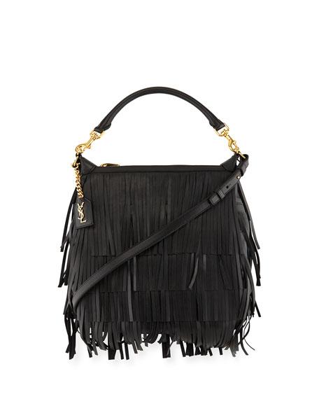 Saint Laurent Emmanuelle Small Leather Fringe Hobo Bag,