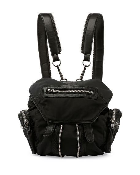 Mini Marti Nylon Backpack, Black/Nickel