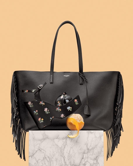 ysl chyc shoulder bag - Saint Laurent Large Calfskin Fringe Shopping Tote Bag, Black
