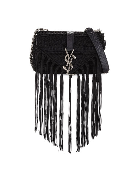 Saint Laurent Monogram Baby Chain Serpent Crochet Crossbody Bag, Black