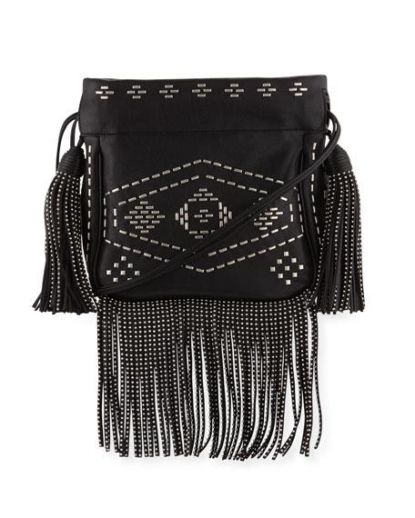 Saint Laurent Monogram Studded Fringe Bucket Bag, Black