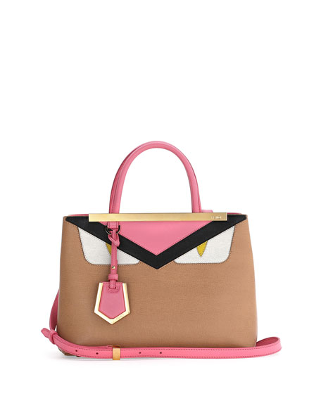 Fendi Petite Monster 2Jours Tote Bag, Tan/Pink/Yellow