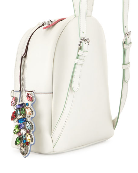 Mini Crystal Croc-Tail Backpack, White/Multi