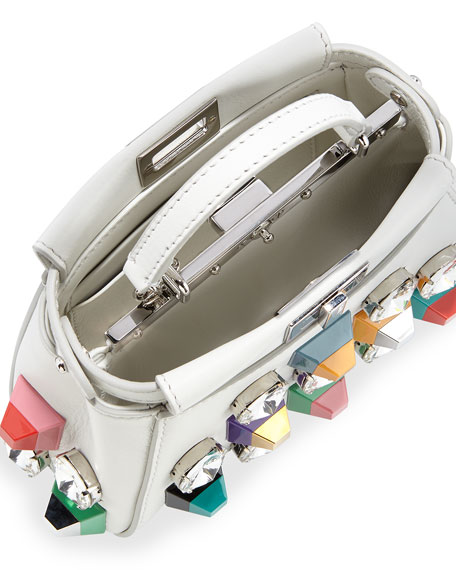 Fendi Peekaboo Micro Studded Satchel Bag, White/Multi