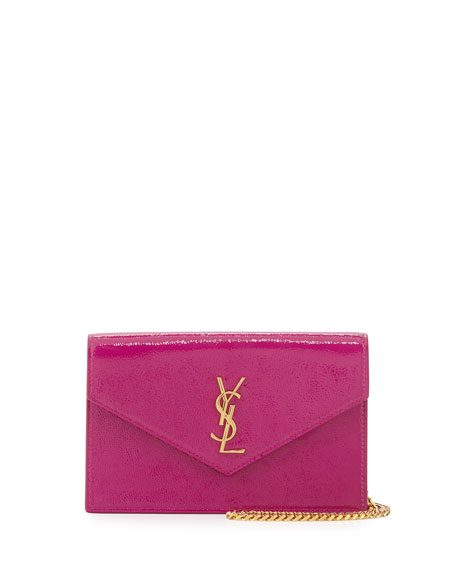 Saint Laurent Monogram Glossy Wallet-on-Chain Bag, Electric Pink