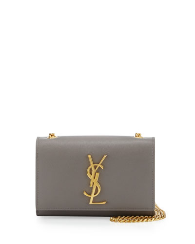 Monogram Small Flap Crossbody Bag, Fog Gray