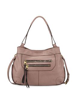 Sandy Leather Hobo Bag, Mushroom