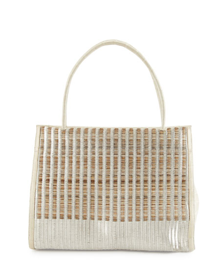 Nancy Gonzalez Wallis Woven Crocodile & Calf Hair Tote Bag, Cream Multi ...
