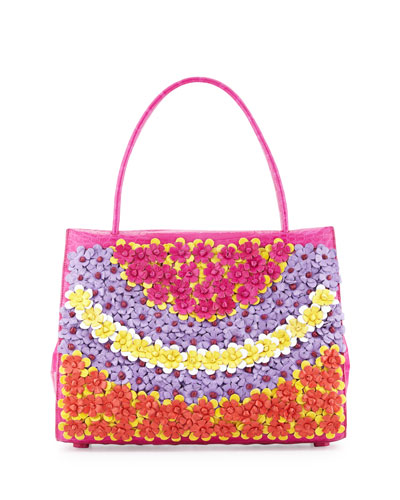 Wallis Medium Floral Crocodile Tote Bag, Pink/Multi