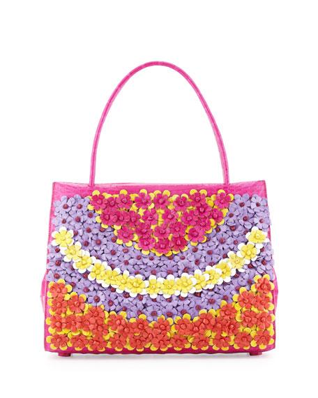 Nancy GonzalezWallis Medium Floral Crocodile Tote Bag, Pink/Multi