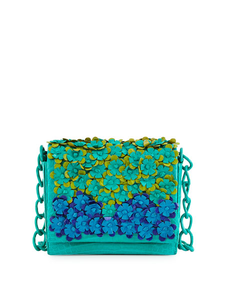 Crocodile Floral-Applique Crossbody Bag, Green Multi