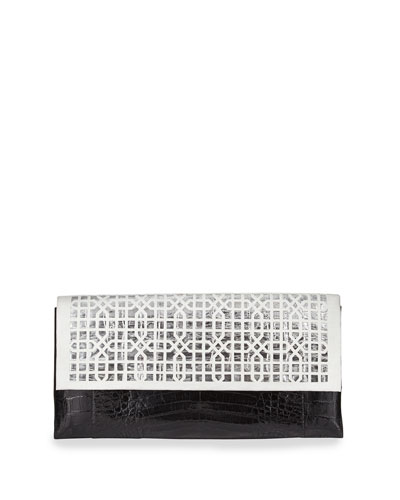 Geometric Crocodile Flap Clutch Bag, White/Black