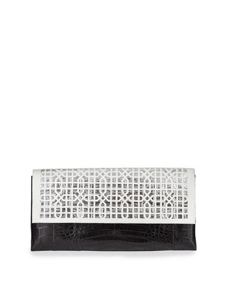 Nancy Gonzalez Geometric Crocodile Flap Clutch Bag, White/Black