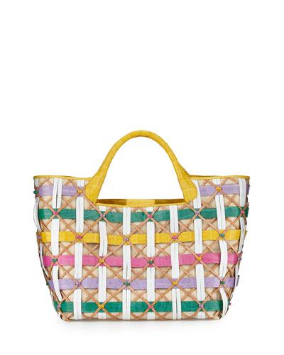 Woven Basket Crocodile Tote Bag, Multicolor