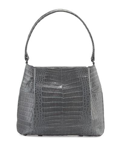 Crocodile Small Hobo Bag, Gray Matte