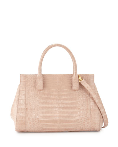 Daisy Medium Crocodile Satchel Bag, Nude Matte