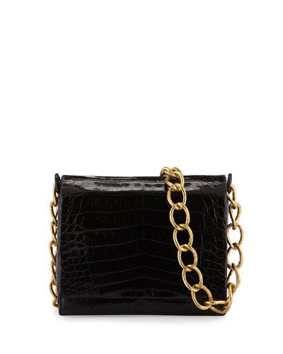 Small Crocodile Chain Crossbody Bag, Black/Gold