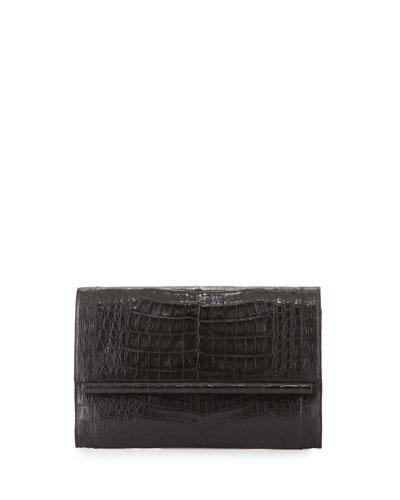 Crocodile Large Bar Clutch Bag, Black Matte