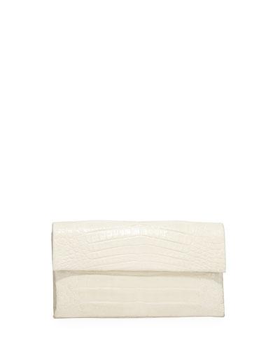 Simple Flap Crocodile Clutch Bag, Black Shiny