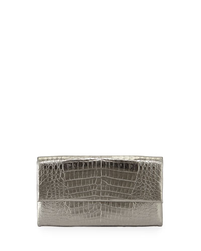 Simple Crocodile Flap Clutch Bag, Anthracite