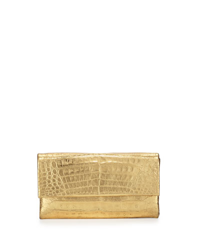 Simple Crocodile Flap Clutch Bag, Gold Mirror