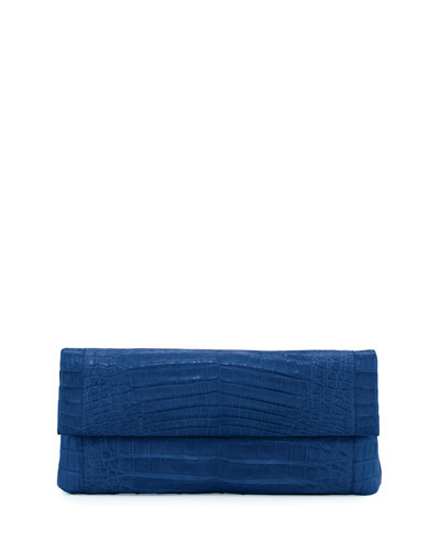 Gotham Crocodile Flap Clutch Bag, Blue Matte