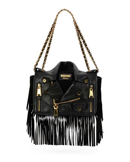 Moschino Fringe Jacket Large Shoulder Bag, Black