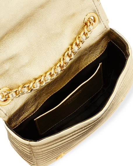 Small Moto Jacket Shoulder Bag, Gold