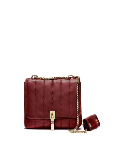 Cynnie Leather Mini Double Shoulder Bag, Red Clay