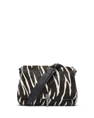 Cynnie Mini Zebra Calf Hair Crossbody Bag, Black/White