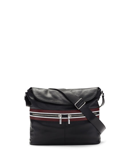 James Lambskin Crossbody Hobo Bag, Black