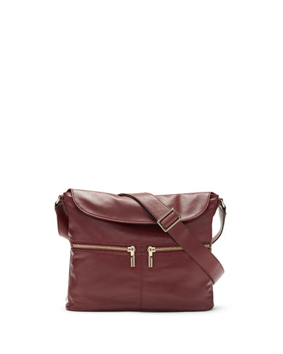 James Lambskin Crossbody Hobo Bag, Red Clay