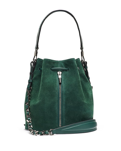 Cynnie Suede Bucket Bag, Canopy Green