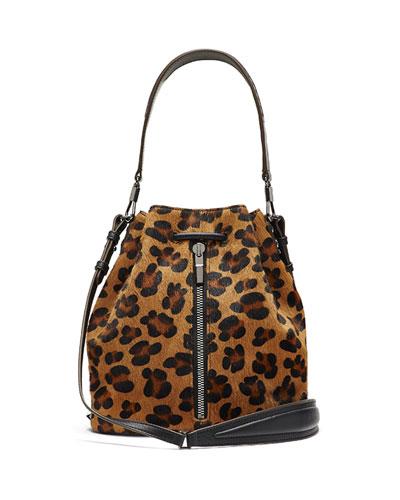 Cynnie Leopard-Print Calf Hair Bucket Bag, Cognac/Black