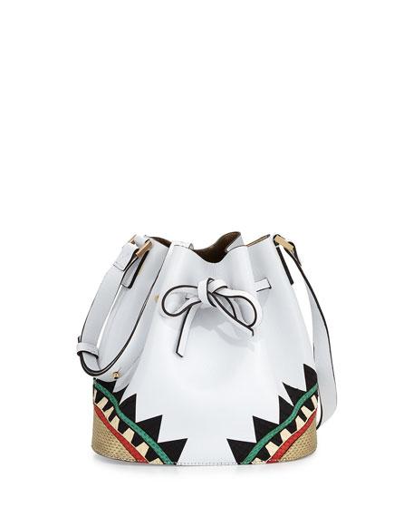 Les Petits Joueurs Daliah Geometric Leather Bucket Bag, White