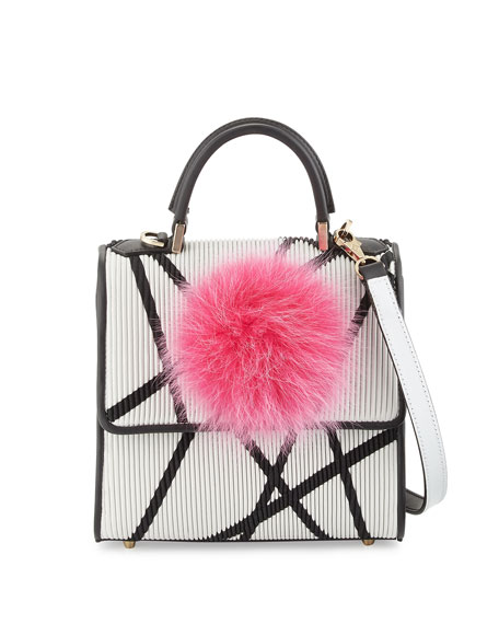 Alex Mini Bunny Shoulder Bag, White/Black