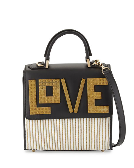Les Petits JoueursAlex Mini Love Shoulder Bag, White/Golden/Black
